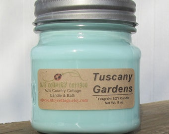 TUSCANY GARDENS SOY Candle - Highly Scented - Green, Fresh, Citrus, Rosemary, Patchouli, Lavender, Melon, Wood