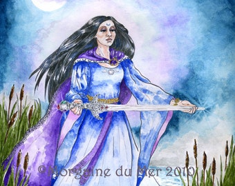 Lady of the Lake Print Water Fae Goddess Excalibur Fine Art Arthurian Pagan Mythology Altar Decor Fantasy Pen Ink Watercolor Illustration