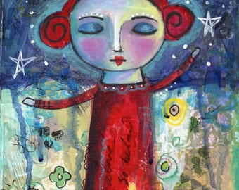 Folk Art painting, Mixed Media Painting,Girl painting, 8 x 10 print, Wall Decor
