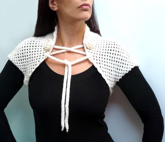 RESERVED - Hand Knit White Wool Shrug - Lace Bolero with Crochet Borders - WHITE GARDEN