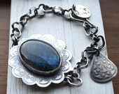 SALE Use Coupon Code 20Off - Arctic Night Bracelet - Filigree Textured Silver with Heart Shaped Chain - Labradorite - Gemstone -