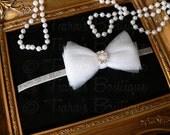 Silver and White Bow Headband w/ Rhinestones - Headband for Girls, Babies, Women - Newborn Photo Prop