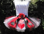 "The Original Queen of Hearts Tutu - Adult Teen Costume Tutu - Custom Sewn Tutu - up to 12"" long - Birthday Parties, Halloween"