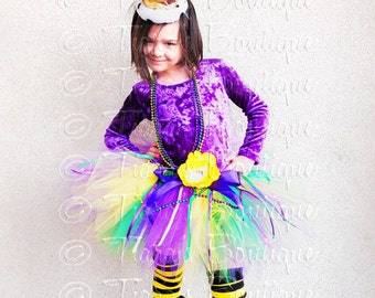 Girls Mardi Gras Tutu, Mardi Gras Pixie, Sewn Pixie Tutu w/ Mardi Gras Beads and Ribbons, Birthday Tutu