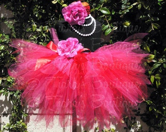 Fuchsia Pink Red Custom Sewn Tutu, Summer Berries Collection, Strawberry, 3 Tiered Pixie Tutu and Flower Headband, Photo Prop Tutu