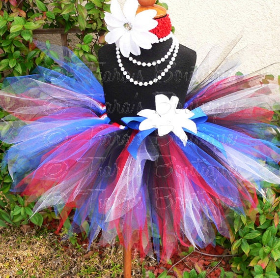 "Girls Birthday Tutu Skirt - Rockin' in the USA Tutu - red white blue black - Sewn 11"" Pixie Tutu - 4th of July, Military Homecomings"