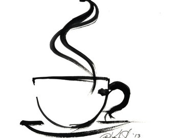 Brushstroke Coffee Cup ... Series No.8 ... Original Abstract Minimalist  Painting by Kathy Morton Stanion EBSQ