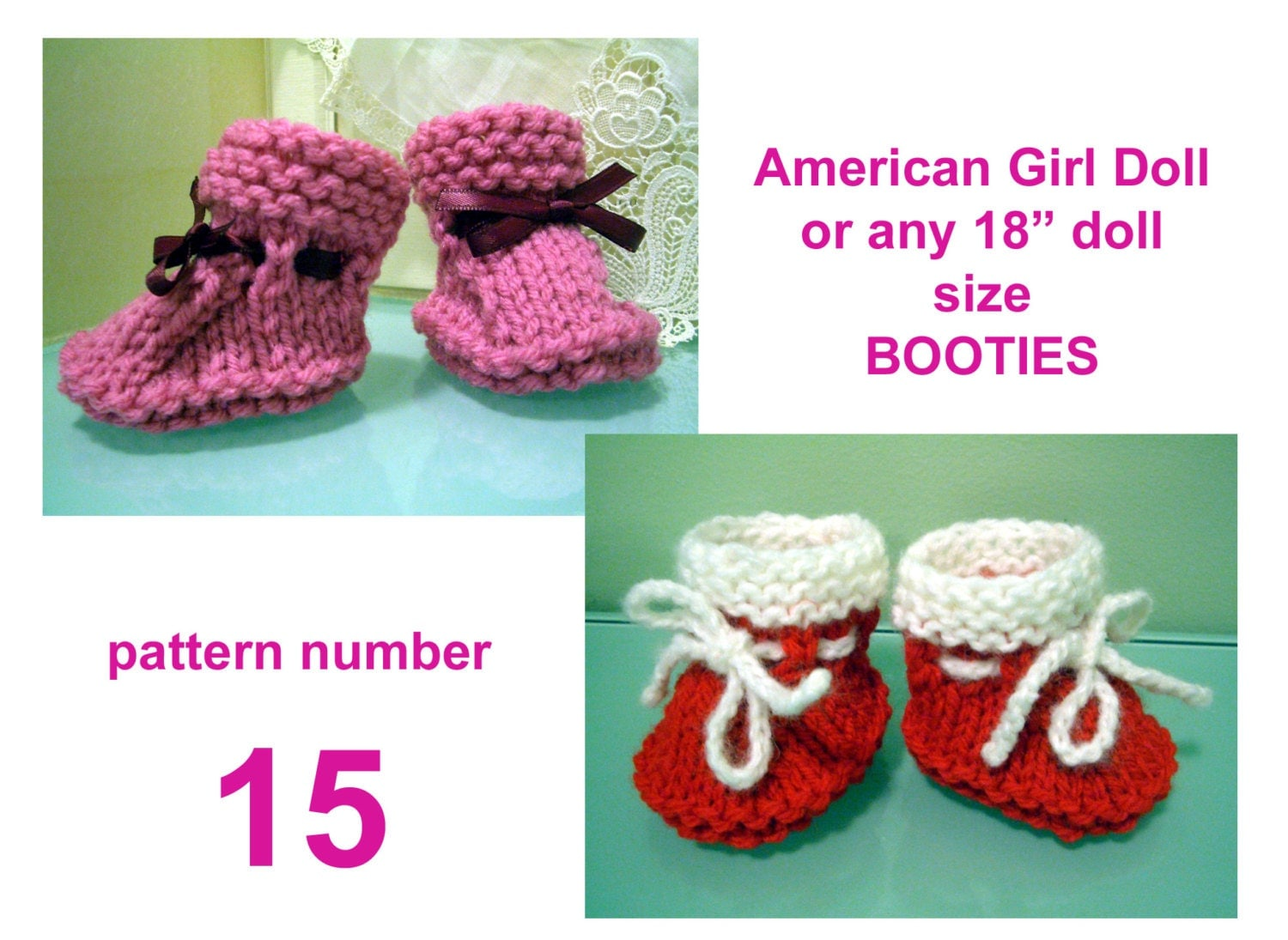 simple DOLL booties KNITTING Pattern