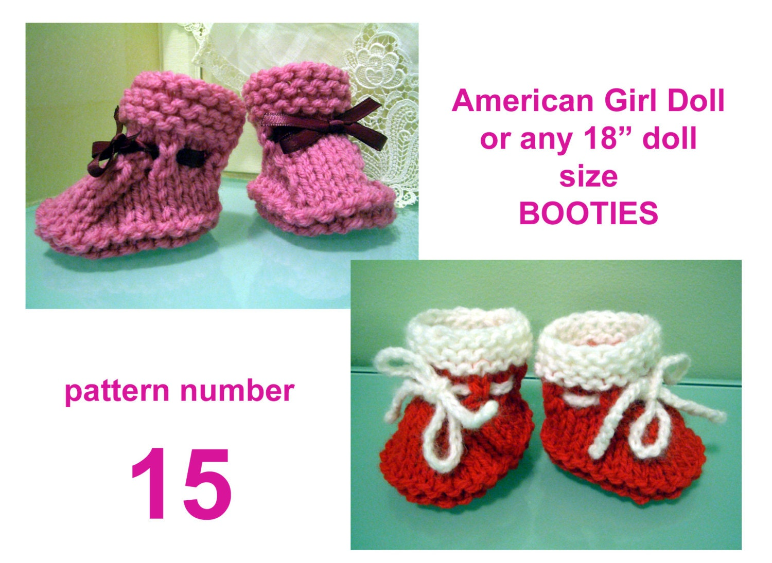Knitting Pattern Doll Booties : simple DOLL booties KNITTING Pattern