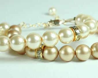 Champagne & Gold Wedding Bracelet, Gold Bridesmaids, Brown Weddings, Caramel Gold 2 Strand Bridal Jewelry, Rhinestones Champagne Weddings