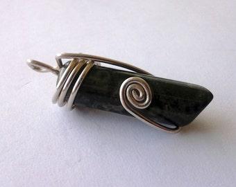 Vintage Dark Green and Black Jasper Stone set in Sterling Silver wire swirls