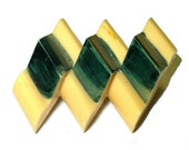 Antique Celluloid Brooch Two Tone Green Yellow With C Clasp