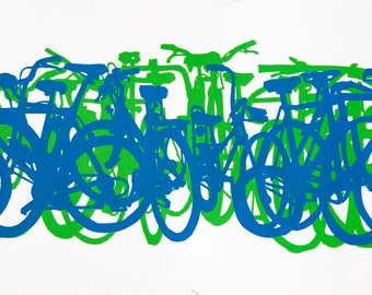 Bicycle Art Print - Bike Stack Midi 13-1-5 Blue and Green Bicycles