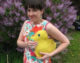 Yellow Burlap Chick Purse - Retro Kitsch Novelty Handbag for Easter Fun