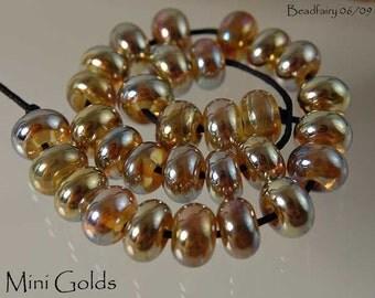 30 Aurae Mini Golds handmade glass beads , golden silver lampwork beads by Beadfairy Lampwork, SRA