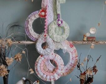 Wreath, Set of Wreaths, Spring Wreath, Vintage Pastel Fabric Wreaths, Garden Wedding Decor, Easter Door, Pastel Nursery, Shabby Chic Decor