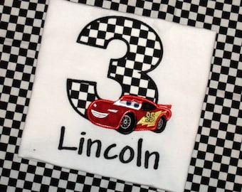 Cars Birthday Shirt, Race Car Birthday Shirt, Boy Birthday Shirt, McQueen birthday shirt, Red Race Car Birthday shirt, sew cute creations