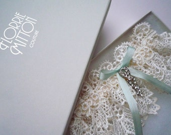 Forever lace garter with rhinestone trim