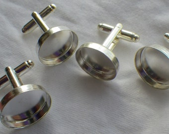 Silver Cuff Link Findings 16mm Round Pad Setting Two Pairs