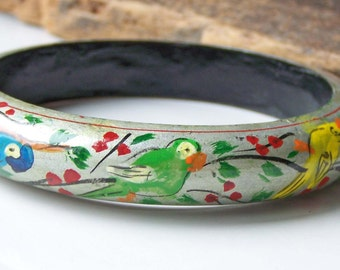 REDUCED Wooden Bangle, Vintage Painted Bangle, Bird Bangle, Vintage Bangle, Blue Bird, Yellow Bird, Green Bird,Etsy Vintage, Etsy Jewelry,