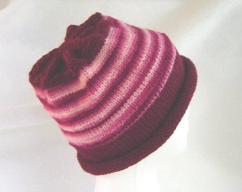 Burgundy wine hand knit ski cap, rolled brim beanie hat, wool and acrylic