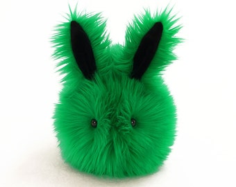 Stuffed Bunny Stuffed Animal Cute Plush Toy Bunny Kawaii Plushie Emerald the Bright Green Bunny Rabbit Cuddly Faux Fur Toy Large 6x10 Inches