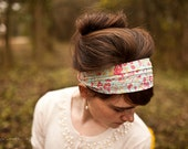Cecily In Blue Flora Garlands of Grace Liberty Print Collection Headcovering hair scarf