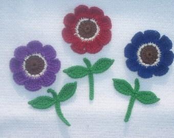 3  handmade thread crochet applique flowers  -- 1752