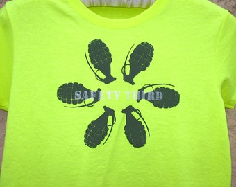 Grenade Flower Safety third tshirt on Neon Yellow womens tshirt XS to XXL plus size Burning Man safety 3rd shirt