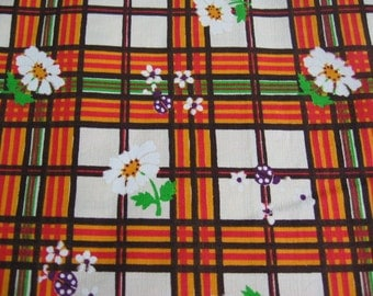 Vintage whimsical plaid cotton fabric