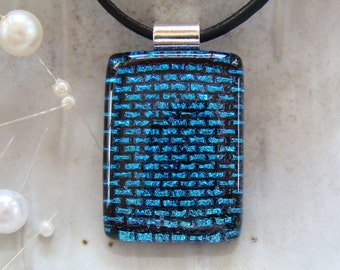 Dichroic Glass Pendant, Fused Necklace, Blue, Black, Necklace Included