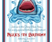 Shark invitations, Personalized Invitations, Shark in water , Sharks, Ocean, under the sea, Party, Birthday, favor Stickers