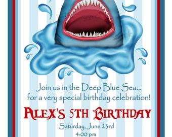 Shark invitations, Shark  Birthday party,   Shark Invites,Shark in water , Sharks, Ocean, under the sea, Party, Birthday, favor Stickers