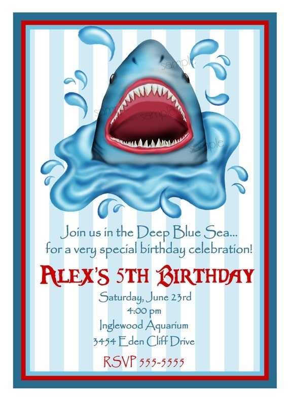 Items similar to Shark invitations Shark Birthday party Shark – Shark Invitations Birthday Party
