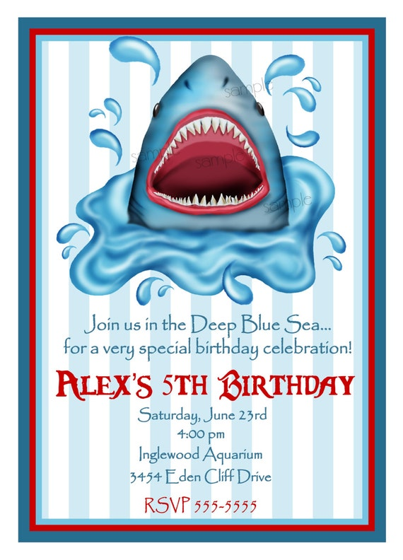 shark invitations shark birthday party shark, Party invitations