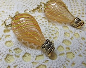 Air ship Orange and Yellow Candystripe Yellow Blown Glass Steampunk Fantasy Hot Air Balloon Dangle Earrings Very Lightweight