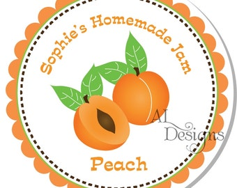 Personalized Stickers -- Peach / Apricot-- Personalized Canning Labels, Personalized Preserves Label -- Choice of Size