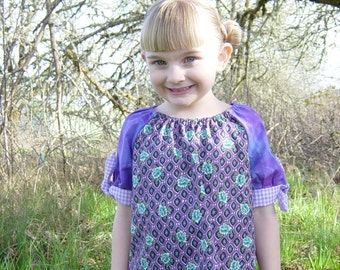 Girls size 5/6 shirt made from reclaimed fabrics (in purple floral)
