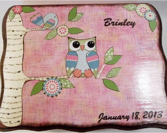 Baby, Child Keepsake, Treasure, Trinket, Photo Storage Box, Decoupage Wood Box, Baby Shower, Personalized Gift, Owl Bird Box MADE TO ORDER