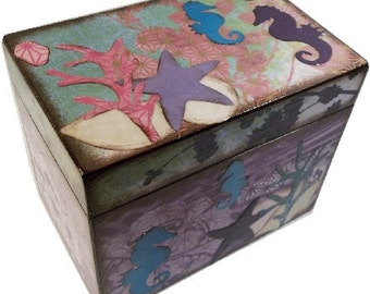 Recipe Box, Decoupaged, Ocean, Seahorse Theme & Other Designs, Holds 4x6 Cards, Wedding Box, Storage Organization, MADE TO ORDER