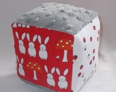 Red Bunnies and Daisies Fabric Block Rattle Toy - SALE