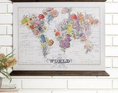 Bouquet Vintage Wall Map Art- Wood Bound Canvas