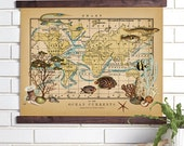 Ocean Currents Vintage Wall Map Art- Wood Bound Canvas