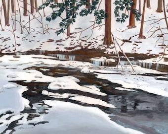 Winter snow scene Pixley Park frozen stream acrylic painting Giclee Reproduction 11x14