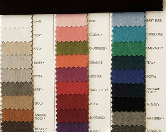 """Stretch Gaberdine Fabric 1 yard choice of color from chart  58"""" wide suits, pants, jackets, dresses"""