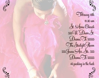Quinceañera Sweet 16 Invitation Personalized with your photo & your colors Digital Design