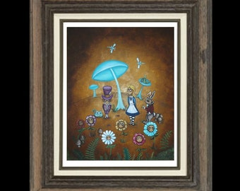 Alice In Wonderland Fairytale Art  Prints and Posters Giclee - - Whimsical Art Print -- In Wonder - 8 x 10