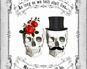 DIY Printable Gothic Victorian Skull Couple Valentine's Day Card - Digital Download - Antique Day of The Dead Vintage Valentine - Black Red