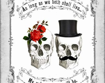 INSTANT digital DOWNLOAD DIY Printable Gothic Victorian Skull Couple Valentine's Day Card - Antique Day of The Dead Vintage Valentine