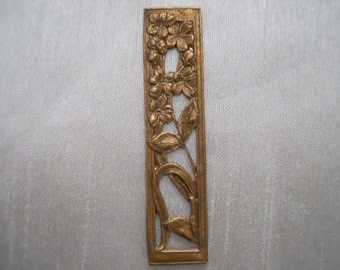 Vintage Oxidized Brass Deco Floral Stamping